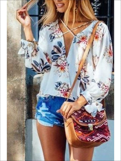 Womens Cross Neck White Floral Blouse - white / XL - Womens Tops