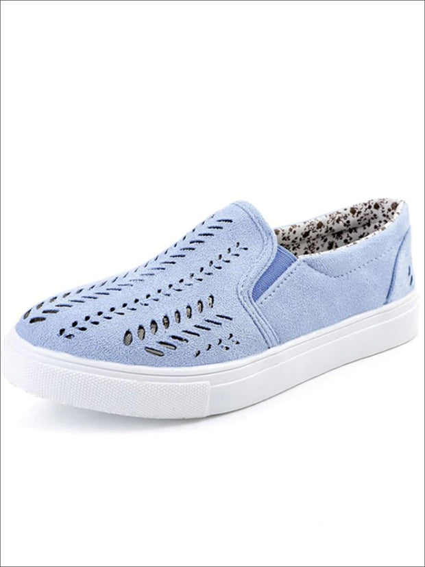 Womens Cut Out Canvas Shoes - Blue / 4 - Womens Shoes