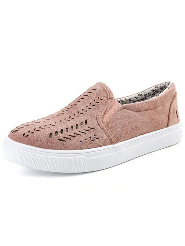 Womens Cut Out Canvas Shoes - Pink / 4 - Womens Shoes