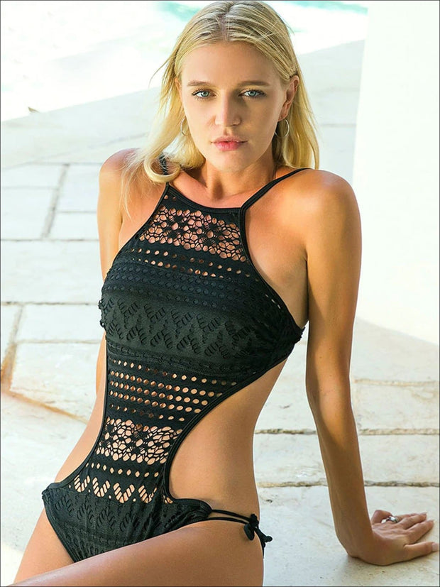 Womens Cut Out Halter Strap One Piece Swimsuit - Womens Swimsuit