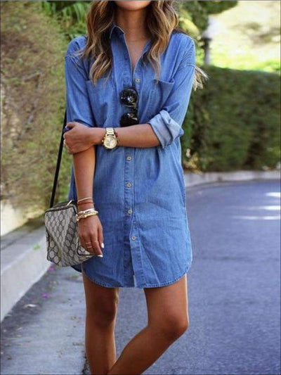 Womens Denim Long Sleeve Button Down Front Pocket Dress (2 Colors Options) - Light Blue / S - Womens Dresses