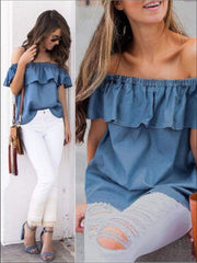 Womens Denim Off The Shoulder Ruffle Sleeve Blouse - Womens Tops