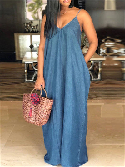 Womens Denim Plus Size Maxi Dress With Side Pocket - Light Blue / S - Womens Dresses
