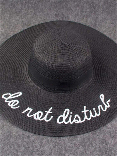 Womens Do Not Disturb Embroidered Straw Beach Hat - Black - Womens Accessories