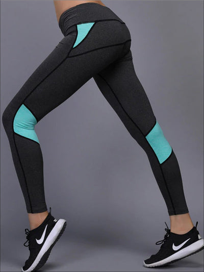Womens Elastic Colorblock Leggings - Mint / S - Womens Activewear