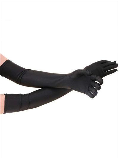 Womens Elbow Length Satin Gloves - Black / One Size - Accessories