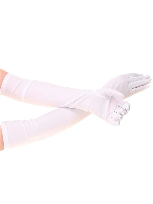 Womens Elbow Length Satin Gloves - White / One Size - Accessories