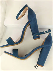 Womens Elegant High Heel Ankle Strap Sandals - Blue / 4.5 - Womens Sandals