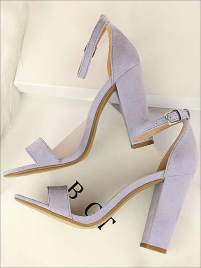 Womens Elegant High Heel Ankle Strap Sandals - Lavender / 4.5 - Womens Sandals
