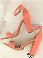 Womens Elegant High Heel Ankle Strap Sandals - Pink / 4.5 - Womens Sandals