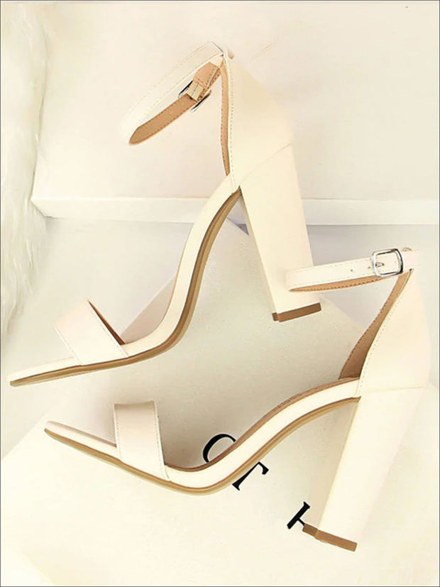 Womens Elegant High Heel Ankle Strap Sandals - White / 4.5 - Womens Sandals