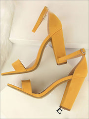 Womens Elegant High Heel Ankle Strap Sandals - Yellow / 4.5 - Womens Sandals