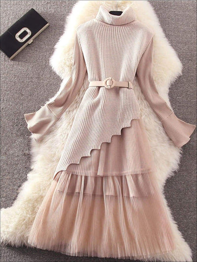 Womens Elegant Pleated Mesh Belted Sweater Dress - Pink / One Size - Womens Fall Dresses