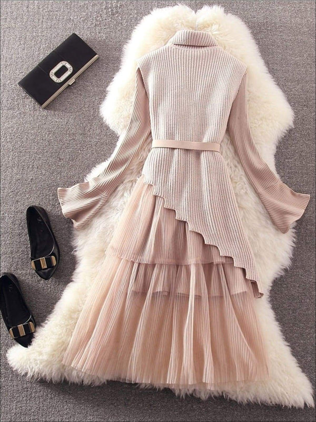 Womens Elegant Pleated Mesh Belted Sweater Dress - Womens Fall Dresses