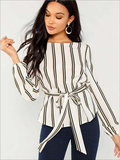 Womens Elegant Striped Scoop Neck Long Sleeve Blouse - White / XS - Womens Tops