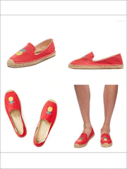 Womens Embroidered Espadrille Loafers (Multi Color Options) - Womens Shoes