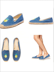 Womens Embroidered Espadrille Loafers (Multi Color Options) By Liv and Mia - Womens Flats