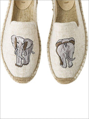 Womens Embroidered Espadrille Loafers (Multi Color Options) - Beige Elephant / 5 - Womens Shoes