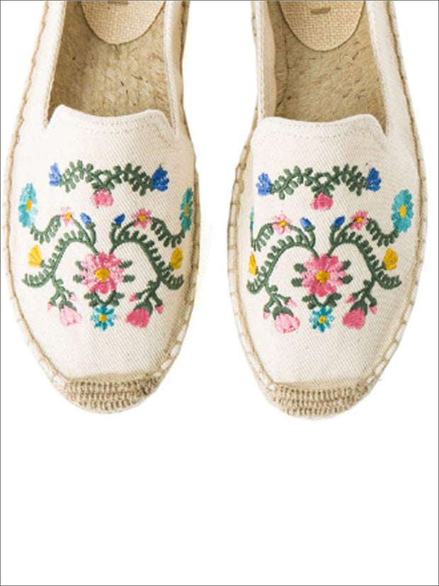 Womens Embroidered Espadrille Loafers (Multi Color Options) - Beige Floral / 5 - Womens Shoes