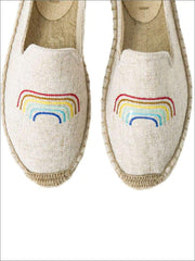 Womens Embroidered Espadrille Loafers (Multi Color Options) - Beige Lines / 5 - Womens Shoes