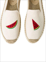 Womens Embroidered Espadrille Loafers (Multi Color Options) - Beige Watermelon / 5 - Womens Shoes