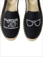 Womens Embroidered Espadrille Loafers (Multi Color Options) - Black Camera / 5 - Womens Shoes