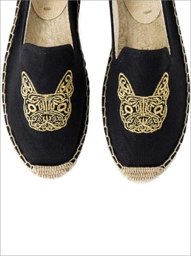 Womens Embroidered Espadrille Loafers (Multi Color Options) - Black Dog / 5 - Womens Shoes