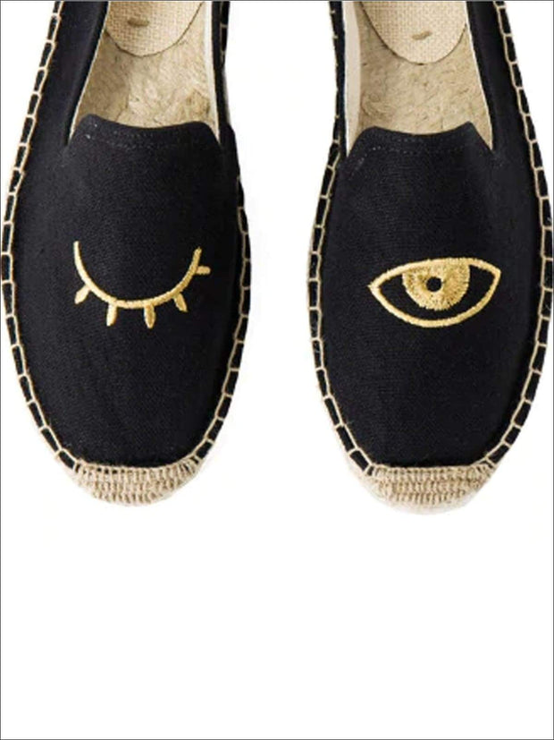 Womens Embroidered Espadrille Loafers (Multi Color Options) - Black Eye / 5 - Womens Shoes