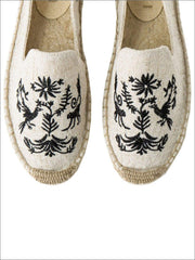 Womens Embroidered Espadrille Loafers (Multi Color Options) - Black & Grey / 5 - Womens Shoes