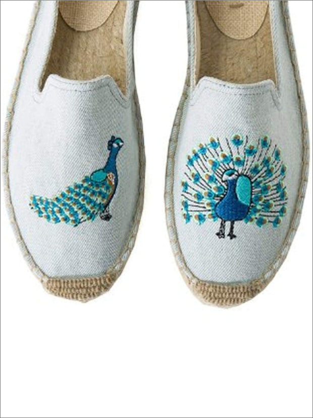 Womens Embroidered Espadrille Loafers (Multi Color Options) - Blue Peacock / 5 - Womens Shoes