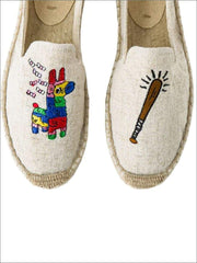 Womens Embroidered Espadrille Loafers (Multi Color Options) - Grey Abstract / 5 - Womens Shoes