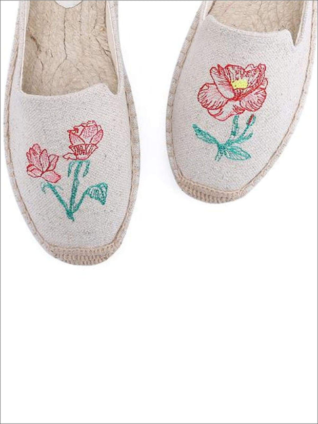 Womens Embroidered Espadrille Loafers (Multi Color Options) - Grey Floral / 5 - Womens Shoes