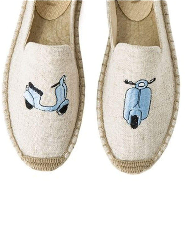 Womens Embroidered Espadrille Loafers (Multi Color Options) - Grey Scooter / 5 - Womens Shoes