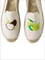 Womens Embroidered Espadrille Loafers (Multi Color Options) - Grey Tropical / 5 - Womens Shoes