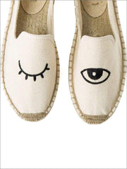 Womens Embroidered Espadrille Loafers (Multi Color Options) - White Eye / 5 - Womens Shoes