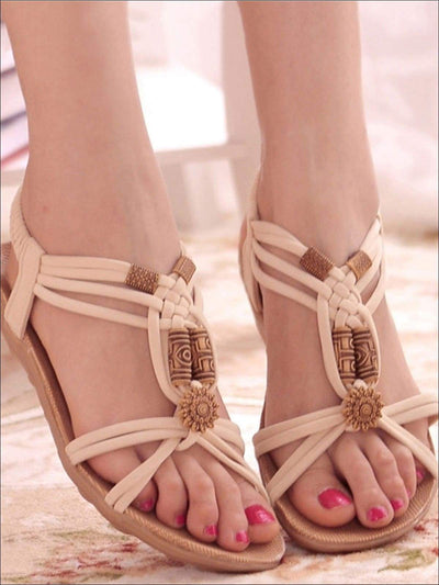 Womens Ethnic Applique Bohemian Sandals - Womens Sandals