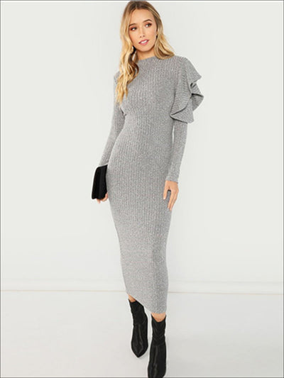 Womens Fall Bodycon Maxi Sweater Dress With Ruffle Detail - Gray / XS - Womens Fall Dresses