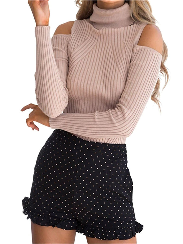 Womens Fall Cozy Knitted Cold Shoulder Sweater - Womens Fall Sweaters