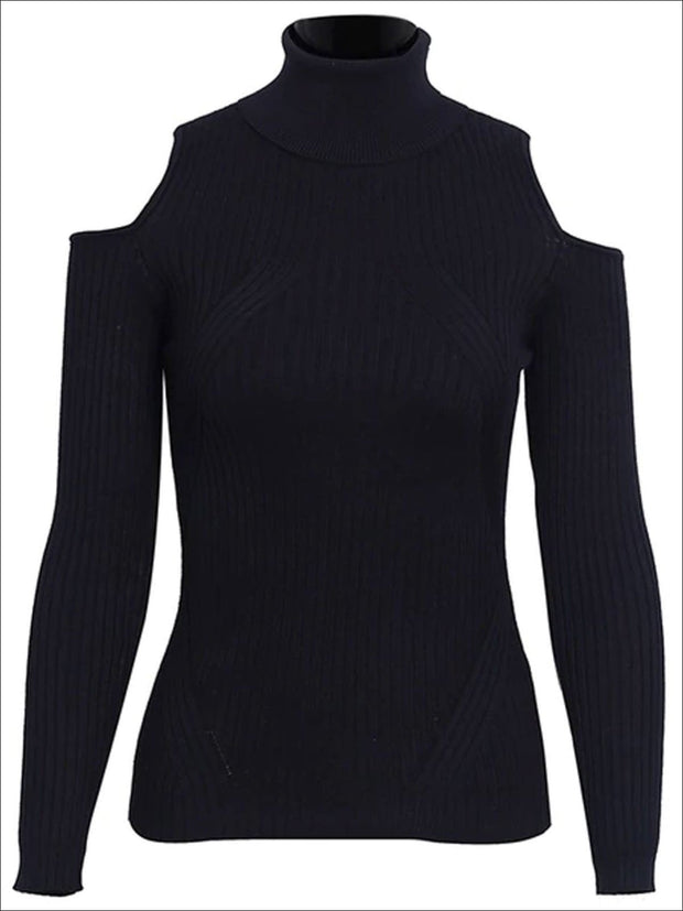 Womens Fall Cozy Knitted Cold Shoulder Sweater - Black / S/M - Womens Fall Sweaters