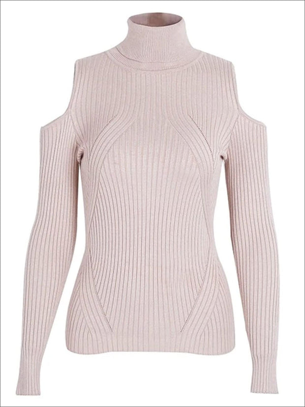 Womens Fall Cozy Knitted Cold Shoulder Sweater - Pink / S/M - Womens Fall Sweaters