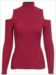 Womens Fall Cozy Knitted Cold Shoulder Sweater - Red / S/M - Womens Fall Sweaters