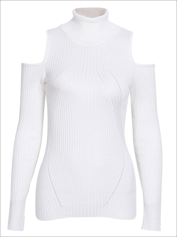 Womens Fall Cozy Knitted Cold Shoulder Sweater - White / S/M - Womens Fall Sweaters