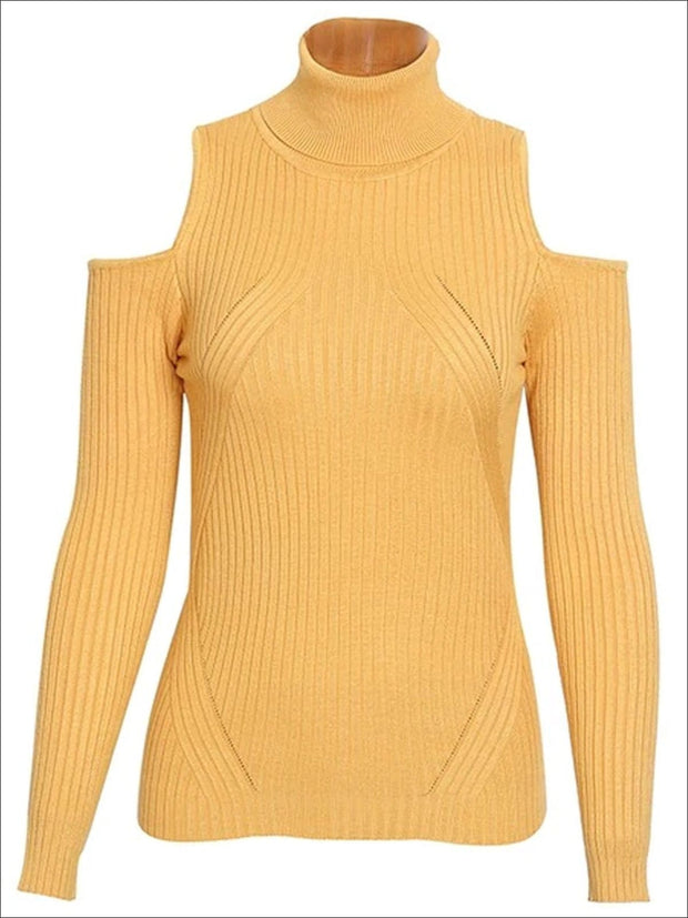 Womens Fall Cozy Knitted Cold Shoulder Sweater - Yellow / S/M - Womens Fall Sweaters