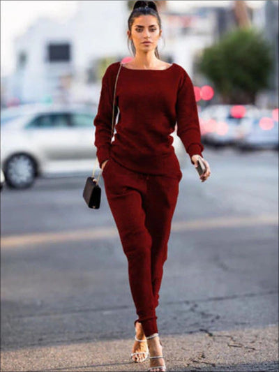 Womens Fall Fleece Sweatshirt & Jogger Pants Set - Burgundy / S - Womens Fall Outerwear