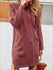 Womens Fall High Neck Split Sweater Dress - Womens Fall Dresses