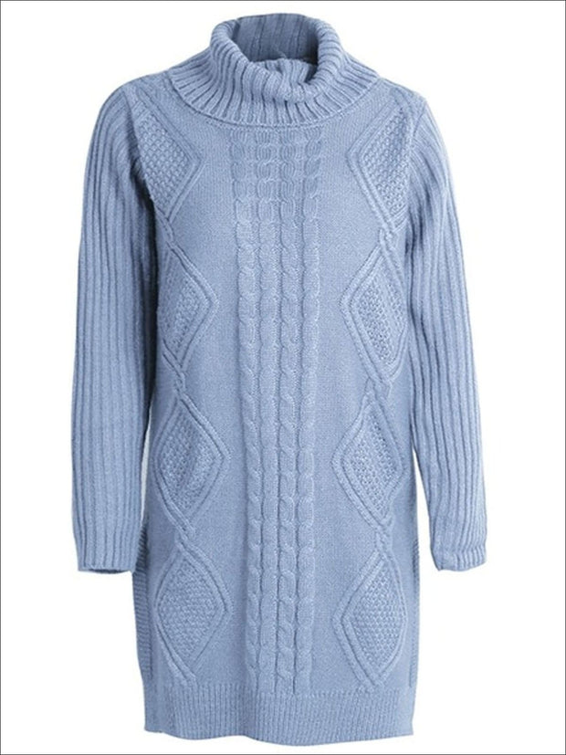 Womens Fall High Neck Split Sweater Dress - Blue / One Size - Womens Fall Dresses