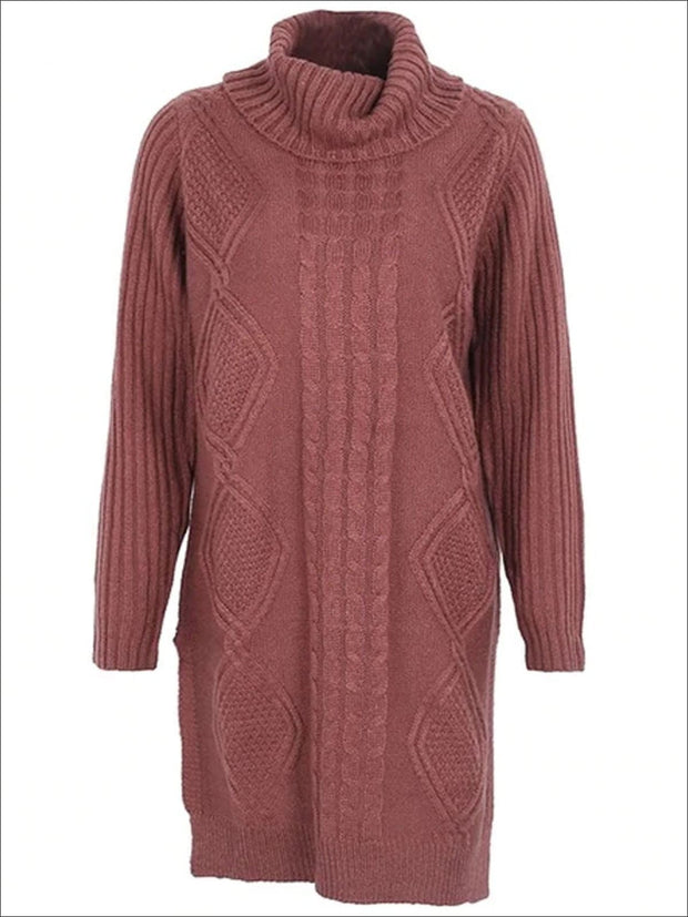 Womens Fall High Neck Split Sweater Dress - Red / One Size - Womens Fall Dresses
