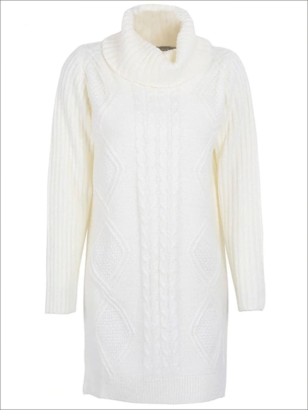 Womens Fall High Neck Split Sweater Dress - White / One Size - Womens Fall Dresses