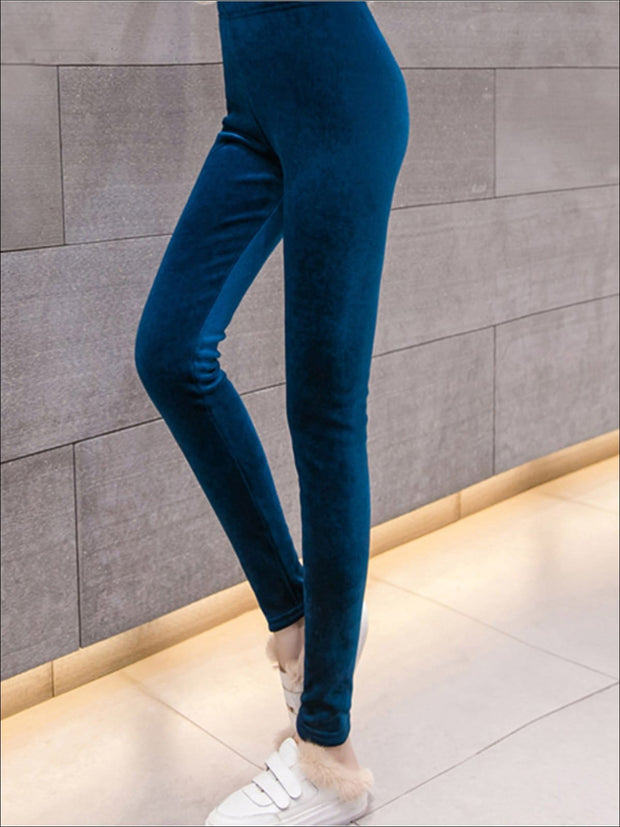 Womens Fall High Waist Velvet Casual Leggings - Womens Bottoms