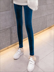 Womens Fall High Waist Velvet Casual Leggings - Blue / S - Womens Bottoms